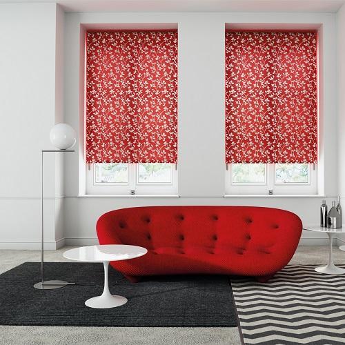 Satina Crimson Pattern Red Roller Blinds